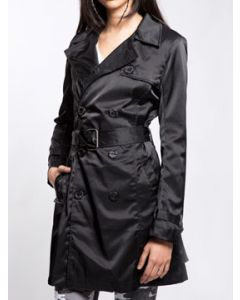 Tripp NYC Punk Goth Rock Metal Military Womens Long Sleeve Double Breasted Button Up Satin Trench Coat Jacket in Black - SIZE M LEFT