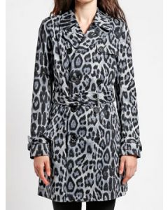 Tripp NYC Punk Goth Rock Metal Military Womens Long Sleeve Double Breasted Button Trench Coat in Blue Leopard Animal Print - SIZES M-XL