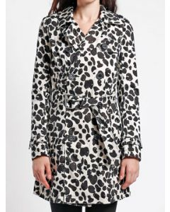 Tripp NYC Punk Goth Rock Metal Military Womens Long Sleeve Double Breasted Button Trench Coat in White Black Spot Leopard Animal Print - SIZES XS-XL