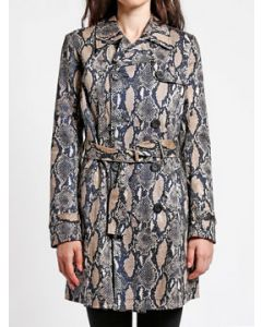 Tripp NYC Punk Goth Rock Metal Military Womens Long Sleeve Double Breasted Button Trench Coat in Brown Python Snakeskin Animal Print - SIZES XS-XL