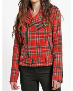 Tripp NYC Punk Goth Rock Metal Wild Child Womens Long Sleeve Zip Stretch Textile Motorcycle Jacket in Red Plaid - SIZE L LEFT