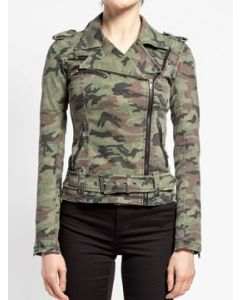 Tripp NYC Punk Goth Rock Metal Wild Child Womens Long Sleeve Zip Stretch Textile Motorcycle Jacket in Green Camouflage - SIZE XS-XL