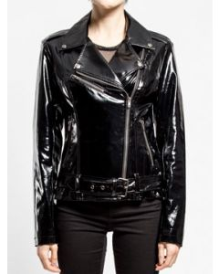 Tripp NYC Punk Goth Rock Metal Womens Long Sleeve Zip Stretch Vinyl Shiny PVC Pleather Faux Leather Motorcycle Jacket in  Black - SIZES S-L