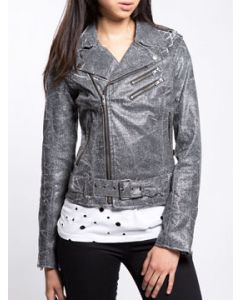 Tripp NYC Punk Goth Rock Shine On Metallic Womens Long Sleeve Zip Stretch Textile Motorcycle Jacket in Silver Sparkle - SIZES XS-M
