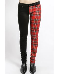 Tripp NYC Punk Rock Rave Goth Metal Skull Rivet Womens Split Personality Two Color Leg Stretch Skinny Jeans in Solid Black & Red Plaid - SIZES 24-31