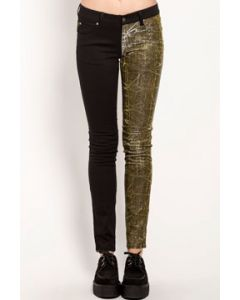 Tripp NYC Punk Rock Rave Goth Metal Skull Rivet Womens Split Shine Two Color Leg Stretch Skinny Jeans in Solid Black & Gold Metallic - SIZES 24-31