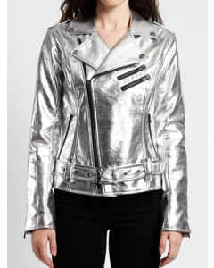 Tripp NYC Punk Goth Rock Metal Zippers Womens Long Sleeve Zip Front Belted Faux Leather Motorcycle Jacket in Silver - SIZES XS-XL