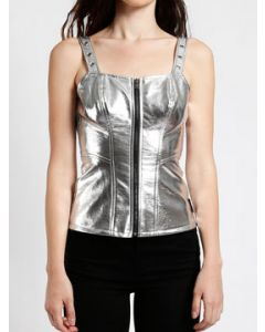Tripp NYC Punk Rave Goth Rock Womens Zip Front Faux Leather Adjustable Metal Buckle Grommet Strap Metallic Corset Top in Silver - SIZES XS-XL