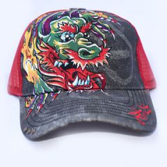 Bullseye Tattoo Dragon Flames Fire Smoke Asia Kanji Colorful Japanese Embroidered Distressed Metal Studs Trucker Snapback Hat in Black Grey & Red