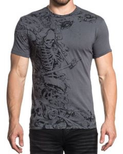 Xtreme Couture Harvest Grim Reaper Skeleton Torn Cloth Skulls Scroll Filigree Foliage Flowers Mens Short Sleeve T-Shirt in Charcoal Grey - SIZES S-3X