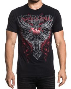 Xtreme Couture Legionaire Celtic Cross Angel Wings Decorative Scroll Filigree Red Metallic Foil Mens Short Sleeve T-Shirt in Black - SIZES S-3X