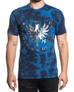 Xtreme Couture Undisputed Honor Glory Silver Eagle Emblem UFC MMA Mens Short Sleeve T-Shirt in Navy Blue Tie Dye - SIZES S-3X