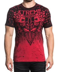 Xtreme Couture Shattered Fractured Skulls Cross Angel Wings Crumbling Bones Falling Apart Mens Short Sleeve T-Shirt in Red - SIZES S-3X