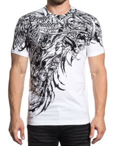Xtreme Couture Sorrow Grim Reaper Skeleton Angel Wings Skulls Tattered Cloth Hand Drawn Mens Short Sleeve T-Shirt in White - SIZE MEDIUM