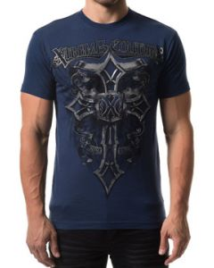 Xtreme Couture Soul Brigade Ornate Celtic Cross Silver Metallic Scroll Filigree Medieval Banners Mens Short Sleeve T-Shirt in Navy Blue - SIZES S-4X