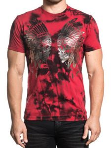 Xtreme Couture Eye For An Eye Native American Indian Chief Skulls Headdress Mens Short Sleeve T-Shirt in Red Black Tie Dye- SIZES S-3X