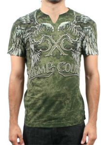 Xtreme Couture Tutanka Skeleton Eagles Ribcage Bones Feather Angel Wings Mens Short Sleeve Notch V-Neck T-Shirt in Military Green - SIZES S-XXL