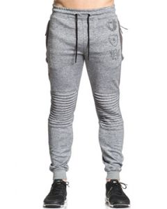 American Fighter Undermine Eagle Shield Insignia Mens Long Ribbed Moto Seam Drawstring Jogger Pants Sweat Pants in Cool Grey - SIZES S-3X