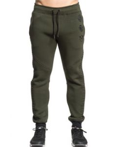 American Fighter Proximity Eagle Shield Insignia Mens Long Ribbed Moto Seam Drawstring Jogger Pants Sweat Pants in Olive Green - SIZES L-3X