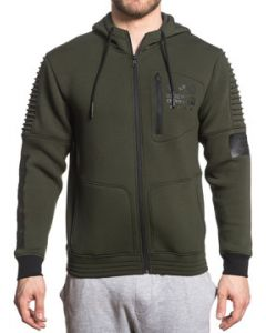 American Fighter Proximity Eagle Shield Insignia MMA UFC Sports Mens Long Sleeve Ribbed Moto Seam Zip Hoodie in Olive Green - SIZES S-3X