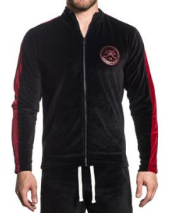 American Fighter Striker Eagle Shield Insignia Mens Long Sleeve Zip Velour Track Jacket in Black & Red Side Stripes - SIZES S-3X