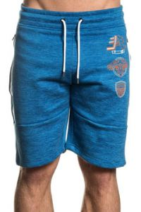 American Fighter Carter Eagle Shield Flag Mens Drawstring Tie Waist Knee Length Sweat Shorts in Blue & White Side Stripes - SIZES S-3X