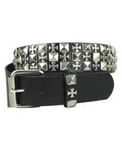 Hard Wear Three Row Iron Crosses Silver Metal Pyramid Studs Unisex Genuine Leather Belt in Black - SIZE XL LEFT
