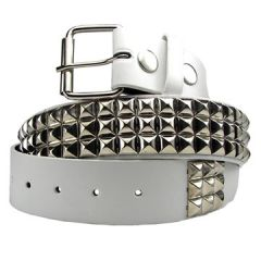 Hard Wear Three Row Silver Pyramid Metal Studs Unisex Leather Belt in White - SIZES S-XXL