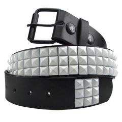 Hard Wear Three Row White Pyramid Metal Studs Unisex Leather Belt in Black - SIZES M-XXL