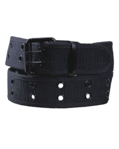 Hard Wear Two Row Black Metal Grommets Adjustable Fit Unisex Weaved Canvas Belt in Black - SIZE L LEFT