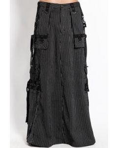 Tripp NYC Punk Goth Dark Street Strength Chains Straps Zippers Mens Cargo Pocket Floor Length Skirt Kilt in Black White Pinstripes- SIZES XS-XL 28-38