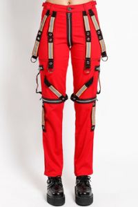 Tripp NYC Punk Rave Festival Power Reflective Bondage Straps Zippers D-Rings Womens Slim Straight Stretch Pants Jeans in Red - SIZES 26-38