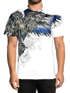 Xtreme Couture Ensign Bird Eagle Cross Fleur Celtic Scroll Tattoo Wings Medieval Mens Short Sleeve T-Shirt in White - SIZES L-4X
