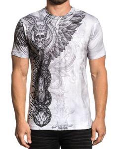 Xtreme Couture Grave Robber Crown Skull Snakes Angel Wings Sword Spine Bones Vertebrae Mens Short Sleeve T-Shirt in White - SIZES S-3X