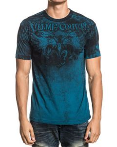 Xtreme Couture Fighting Lions Gate Fleur Angel Wings Battle Mens Short Sleeve Crew Neck T-Shirt in Dark Teal Blue - SIZES M-3X