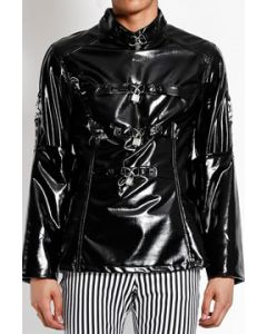 Tripp NYC Locks Key Bondage Straps D-Rings Zipper Back Punk Goth Rock Mens Long Sleeve Stretch Straight Jacket in Shiny Black Vinyl - SIZES XS-XXL