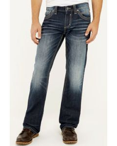 Affliction Blake Apex Letter A Pockets No Holes Mens Relaxed Straight Denim Jeans in Dark Blue Mogul Wash - SIZES 30-42