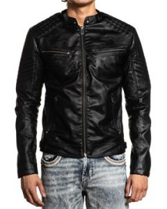 Affliction Live Fast Hollow Divio Fleur Rock Biker High End Look Mens Faux Leather Motorcycle Jacket in Black - SIZES S-3X