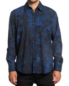 Affliction Black Label Provisional All Over Skulls Flowers USA Flags Cross Back Mens Long Sleeve Button Up Dress Shirt in Navy Blue - SIZES S-3X