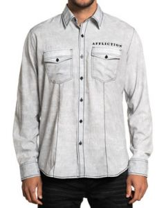 Affliction Black Label Tried True Crosses Ghostly Eagle Medieval Script Mens Long Sleeve Button Up Woven Dress Shirt in Grey - SIZES S-3X