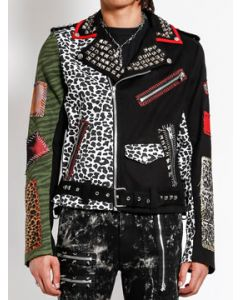 Tripp NYC Punk Rock Steady Cheetah Leopard Animal Print Multi Patch Metal Studs Mens Long Sleeve Zip Textile Moto Jacket in Black - SIZES XS-XL