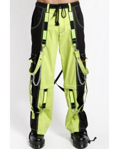 Tripp NYC Dark Street Full On Punk Rave Reflective Bondage Straps Chains Mens Wide Leg Pants Zip Off Shorts in Black Lime Green - SIZES XS-2X