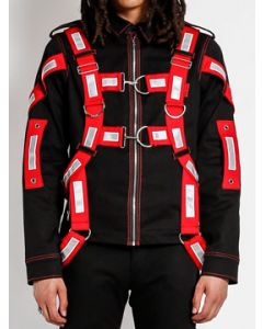 Tripp NYC Punk Rave Goth Shock Red Reflective Harness Straps Buckles D-Rings Mens Long Sleeve Zip Jacket in Black - SIZES XS-XL