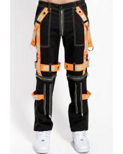 Tripp NYC Ultimation Punk Rave Goth Festival Orange Reflective Straps Zippers Adjust Fit Mens Stretch Slim Skinny Pants Jeans in Black - SIZES 26-38