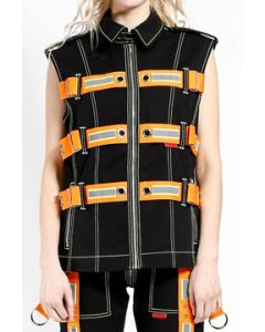 Tripp NYC Electric Punk Rave Cyber Goth Festival Orange Reflective Straps Harness Metal Buckles Mens Zipper Vest in Black - SIZES XS-XL