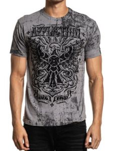 Affliction Masters Apprentice Celtic Eagle Emblem Calligraphy Scroll Filigree Mens Short Sleeve T-Shirt in Silver Black Oil Stain - SIZES M-3X