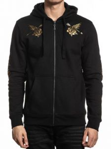 Affliction Mystic Healer Native American Indian Chief Skull Headdress Arrows Roses Mens Long Sleeve Zip Hoodie Sweatshirt in Black - SIZES M-4X