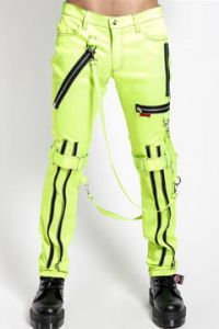 Tripp NYC Punk Metal Moto Rocker Zippers Straps D-Rings Stretch Adjust Fit Mens Skinny Jeans Bondage Pants in Neon Lime Green- SIZES  26-34