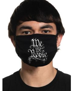 Howitzer By Affliction We The People Ornate Calligraphy USA Patriot Military Moto Mens Womens Unisex Face Mask in Black - Washable Reusable