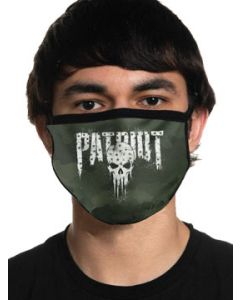 Howitzer By Affliction Patriot Punisher Skull Military Moto Mens Womens Unisex Face Mask in Green - Washable Reusable